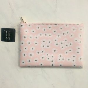 Eccolo Pencil Pouch NWT Pink White Gold Flowers